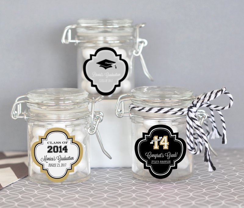 Personalized Graduation Glass Jar with Swing Top Lid - MINI cheap favors