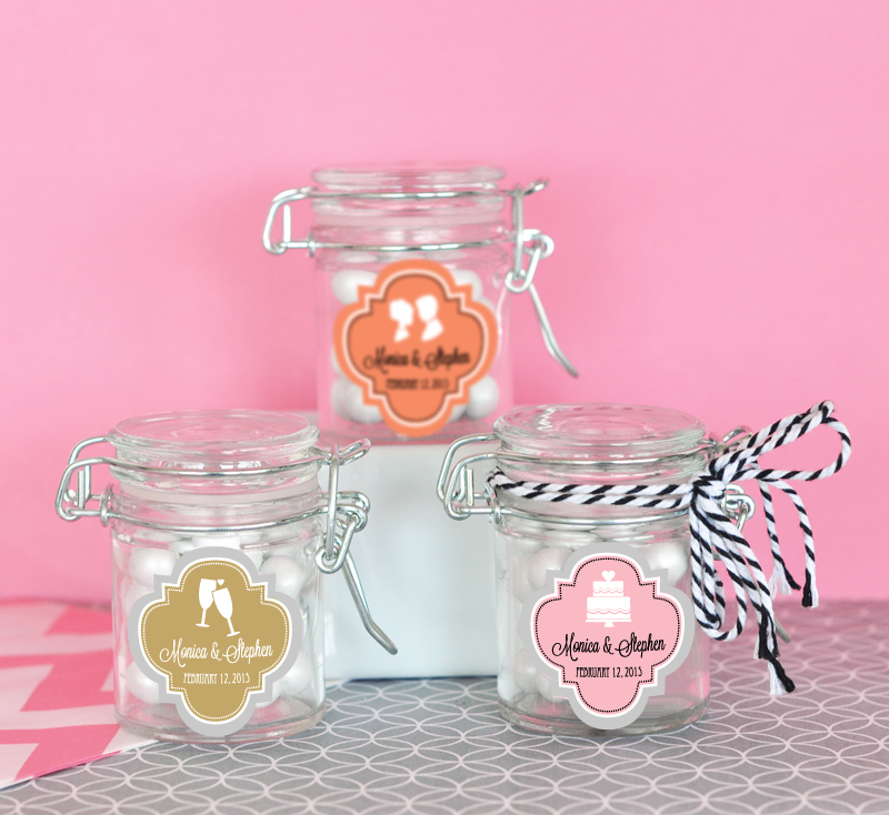 Personalized MOD Pattern Theme Glass Jar with Swing Top Lid - MINI cheap favors