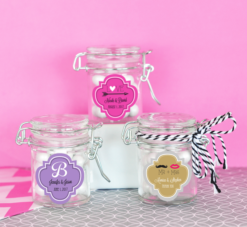 Personalized Theme Glass Jar with Swing Top Lid - MINI cheap favors