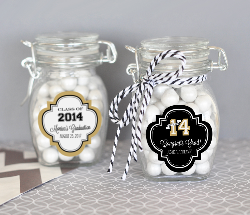 Personalized Graduation Glass Jar with Swing Top Lid - SMALL cheap favors