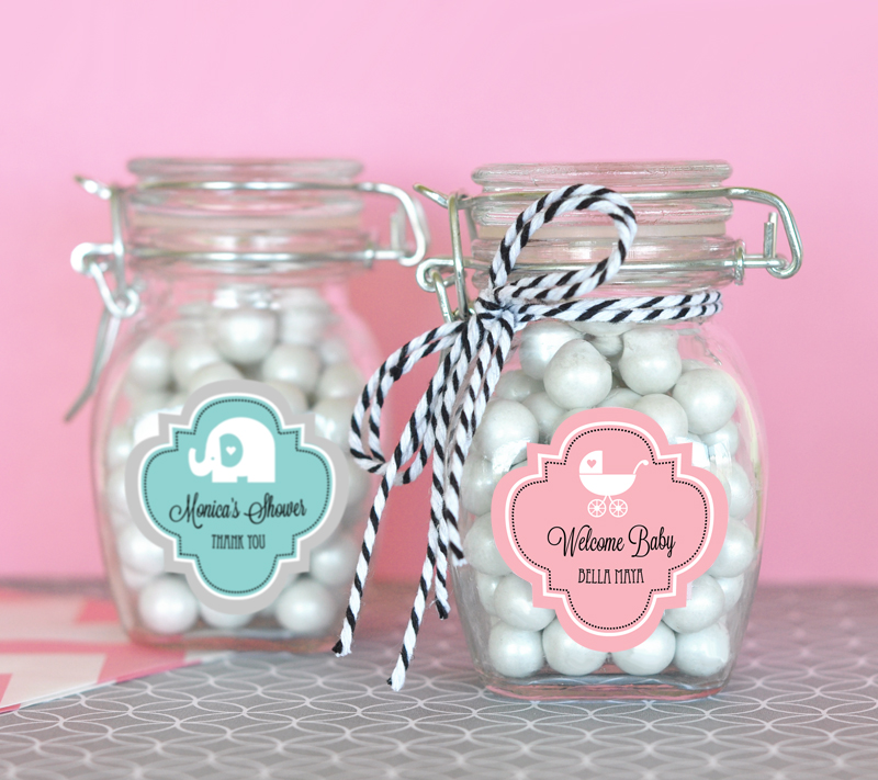 Personalized MOD Pattern Baby Shower Glass Jar with Swing Top Lid - SMALL cheap favors