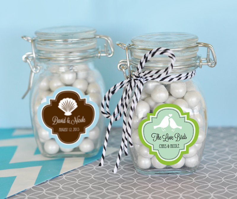 Personalized MOD Pattern Theme Glass Jar with Swing Top Lid - SMALL cheap favors