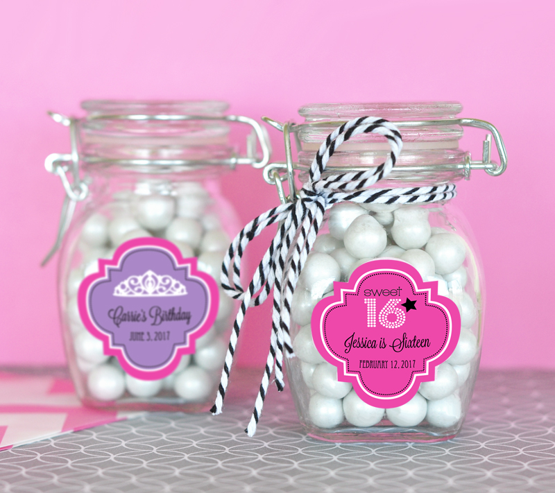 Personalized Sweet 16 or 15 Glass Jar with Swing Top Lid - SMALL cheap favors