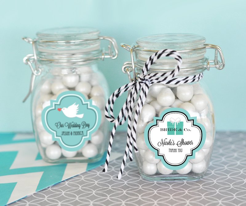 Personalized Theme Glass Jar with Swing Top Lid - SMALL cheap favors
