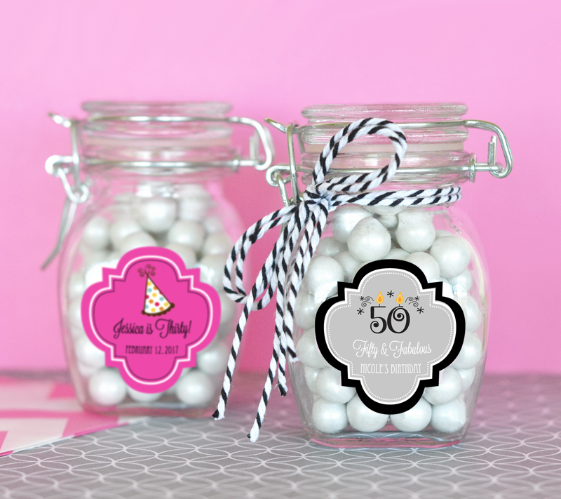 Personalized Birthday Glass Jar with Swing Top Lid - SMALL cheap favors