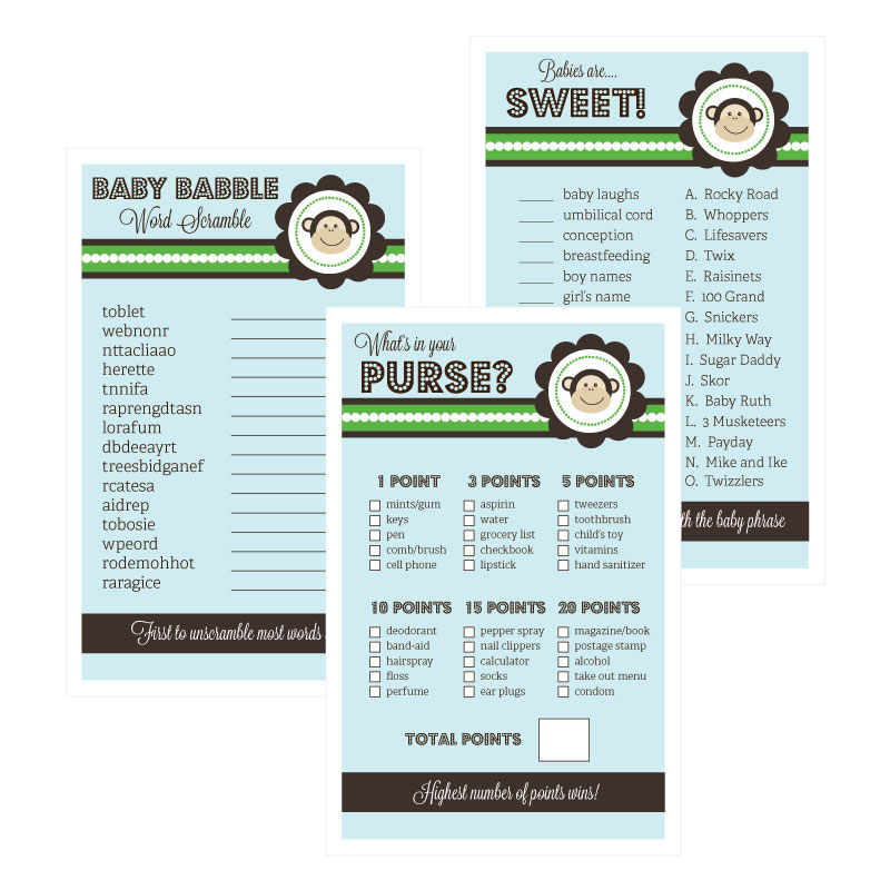Baby Shower Games (Set of 10) - Monkey wedding favors