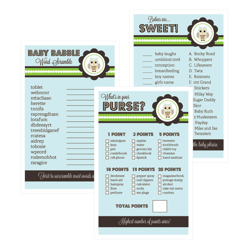 Baby Shower Games (Set of 10) - Owl wedding favors
