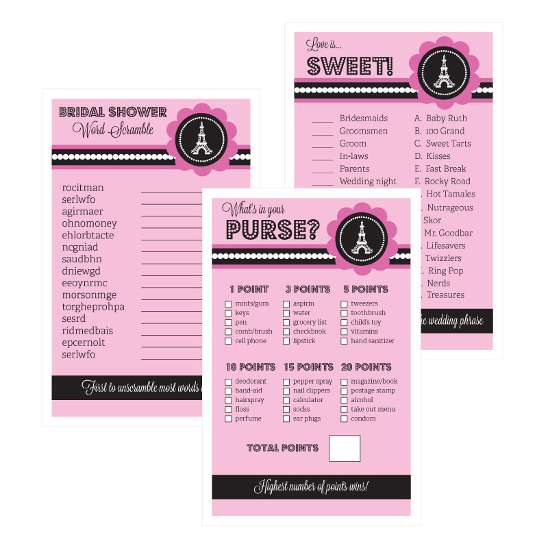 bridal shower games set of 10 parisian party
