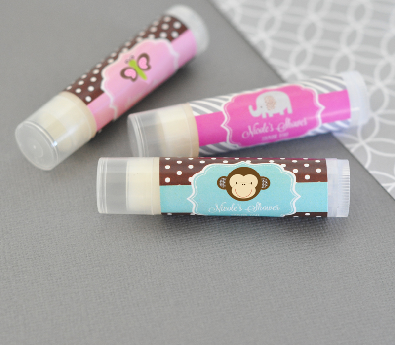 Personalized Baby Animal Lip Balm Tubes cheap favors