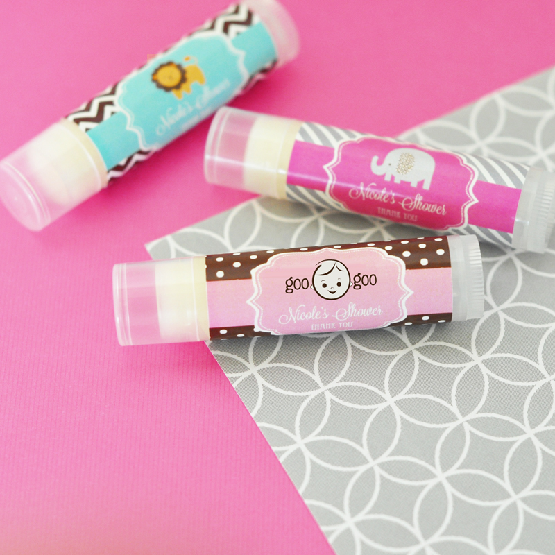 Personalized Baby Shower Lip Balm Tubes cheap favors