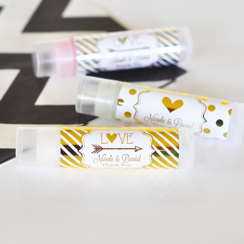 Personalized Metallic Foil Lip Balm Tubes - Wedding cheap favors