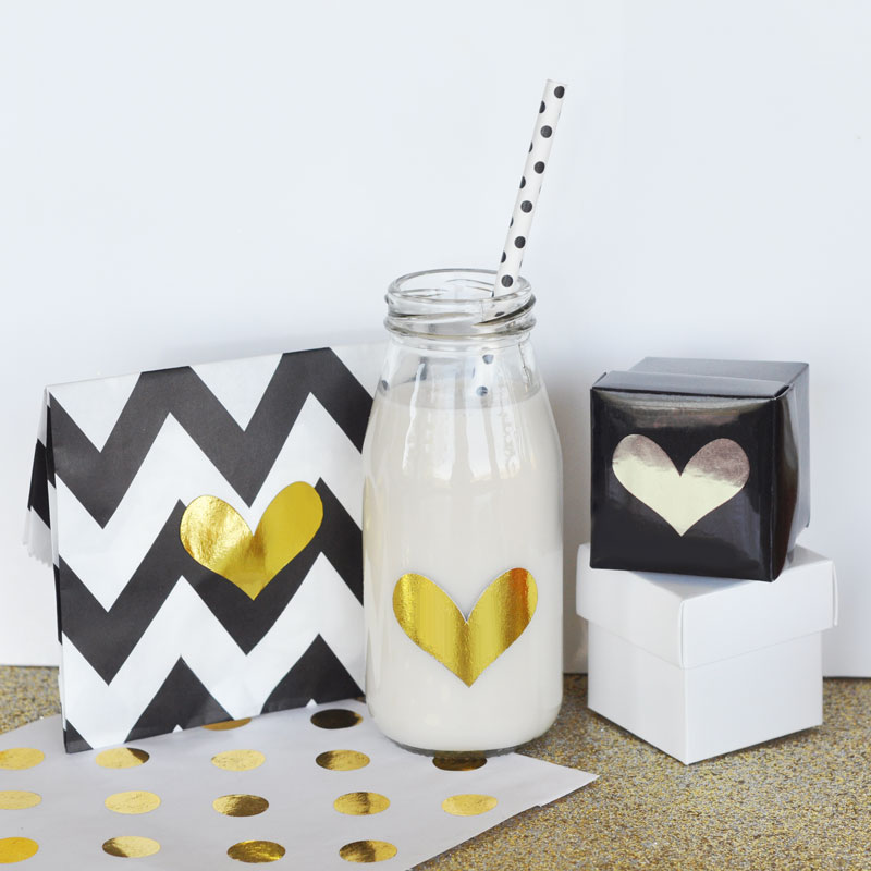 DIY Gold & Silver Foil Heart Stickers (Set of 24) cheap favors