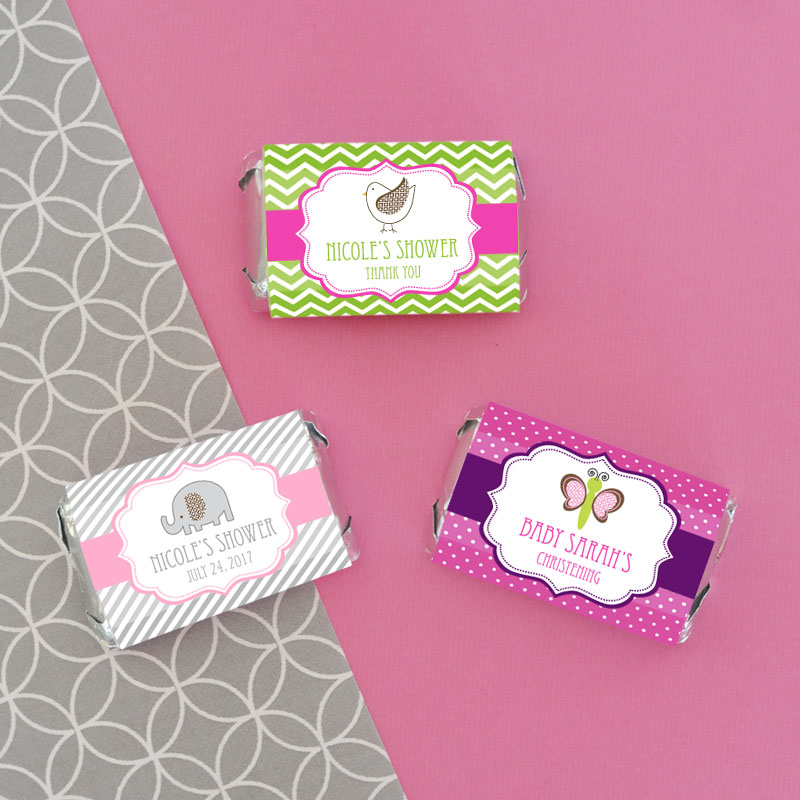 Personalized baby animal mini candy bar wrappers wedding favors