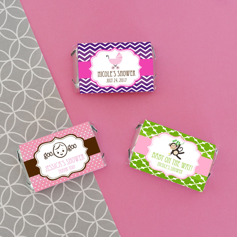 Baby Shower Favors Candy Bar Wrappers ~ Personalized baby shower mini candy bar wrappers