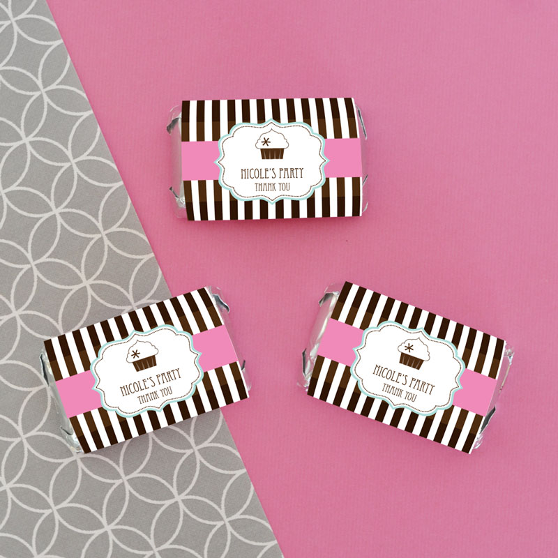 Personalized cupcake party mini candy bar wrappers wedding favors