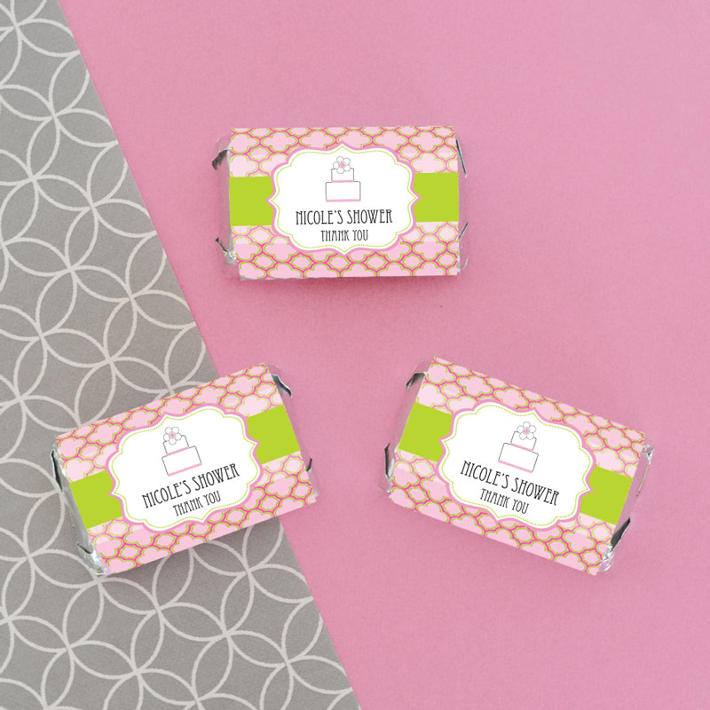 Personalized Pink Cake Mini Candy Bar Wrappers cheap favors
