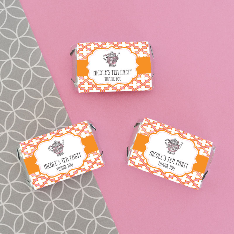 Personalized tea party mini candy bar wrappers wedding favors