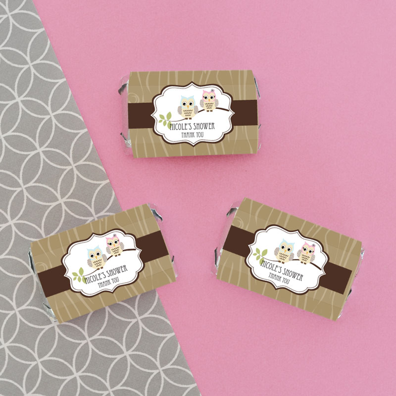 Personalized Woodland Owl Mini Candy Bar Wrappers cheap favors