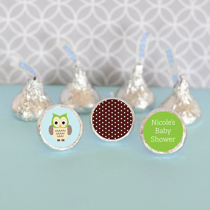 Personalized Blue Owl Hershey's Kisses Labels Trio (Set of 108) cheap favors