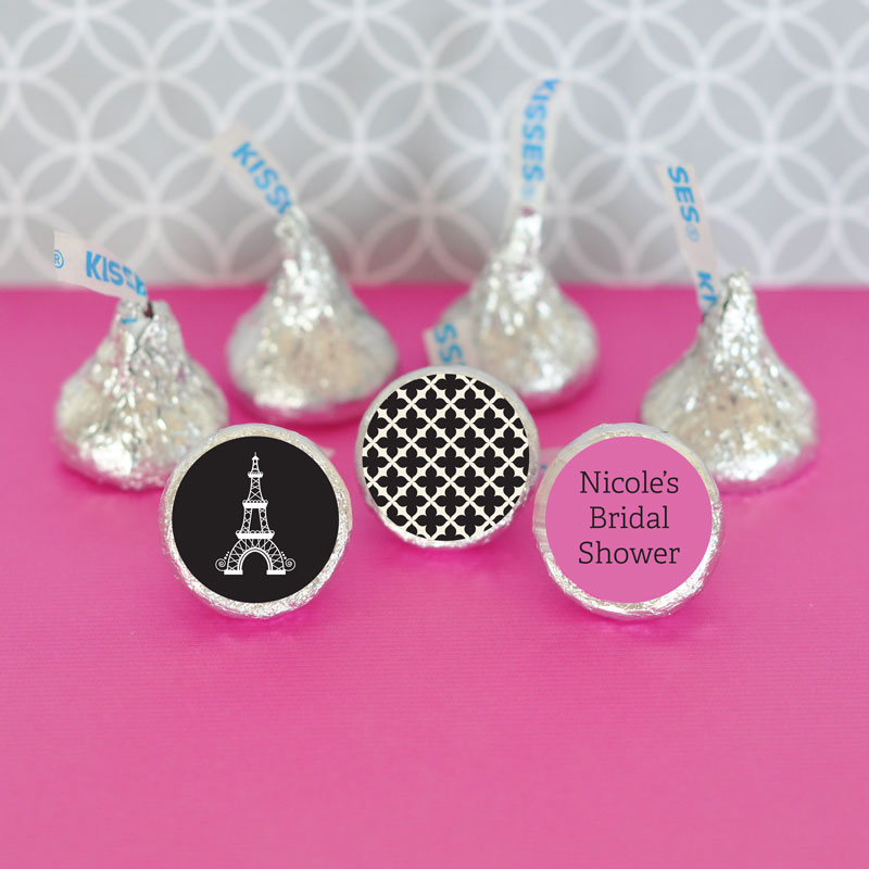 Personalized Parisian Party Hershey's Kisses Labels Trio (Set of 108) cheap favors