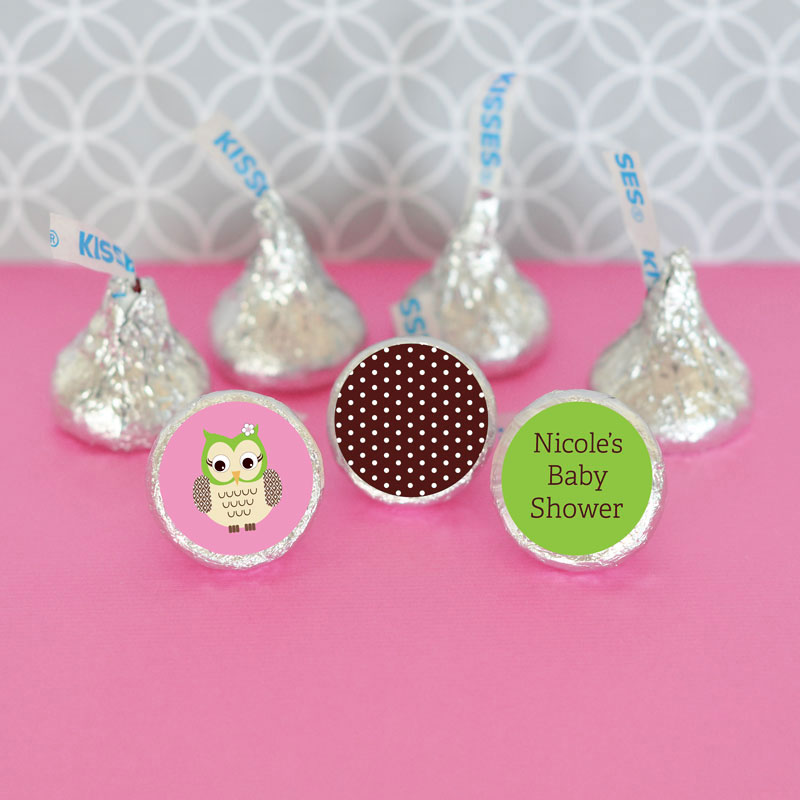 Personalized Pink Owl Hershey's Kisses Labels Trio (Set of 108) cheap favors