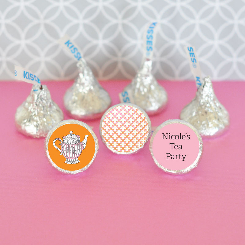 Personalized Tea Party Hershey's Kisses Labels Trio (Set of 108) cheap favors