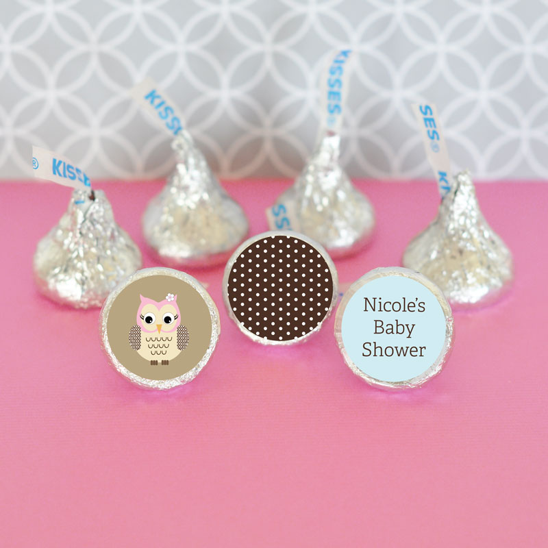 Personalized Woodland Owl Hershey's Kisses Labels Trio (Set of 108) cheap favors