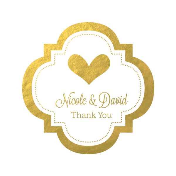 "Personalized Metallic Foil 1.5"" Mini Favor Labels - Wedding cheap favors"