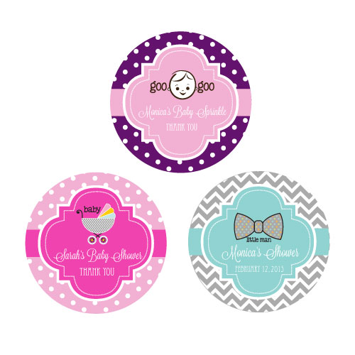 Personalized Baby Shower Round Favor Labels wedding favors