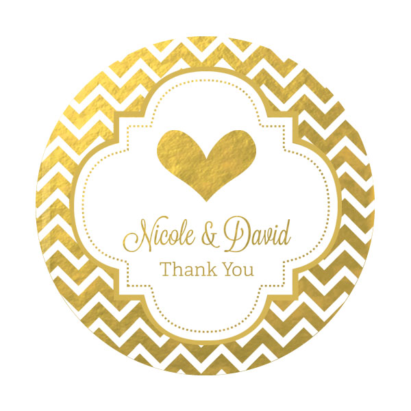 Design Your Own Wedding Gift Tags : Personalized Metallic Foil Round Favor LabelsWedding wedding favors