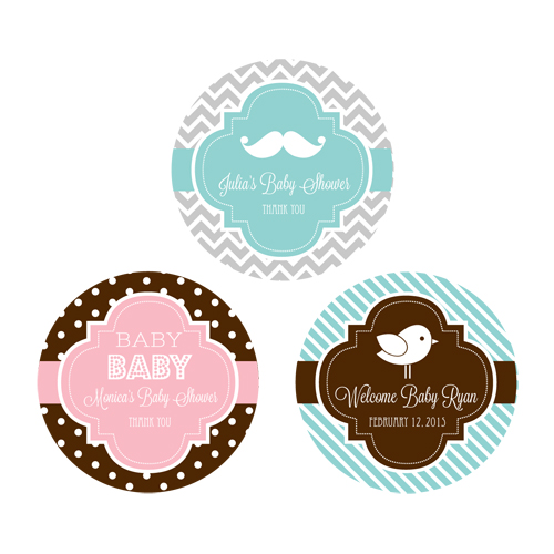 Personalized MOD Baby Silhouette Round Favor Labels cheap favors