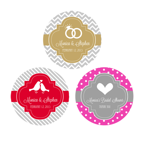 Personalized MOD Theme Silhouette Round Favor Labels cheap favors
