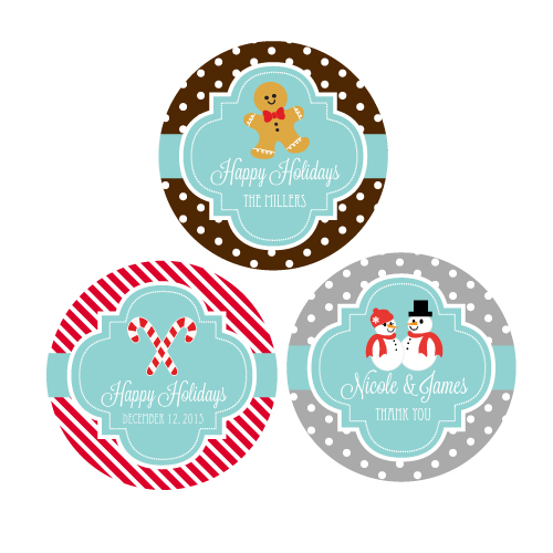 Personalized Winter Round Favor Labels cheap favors