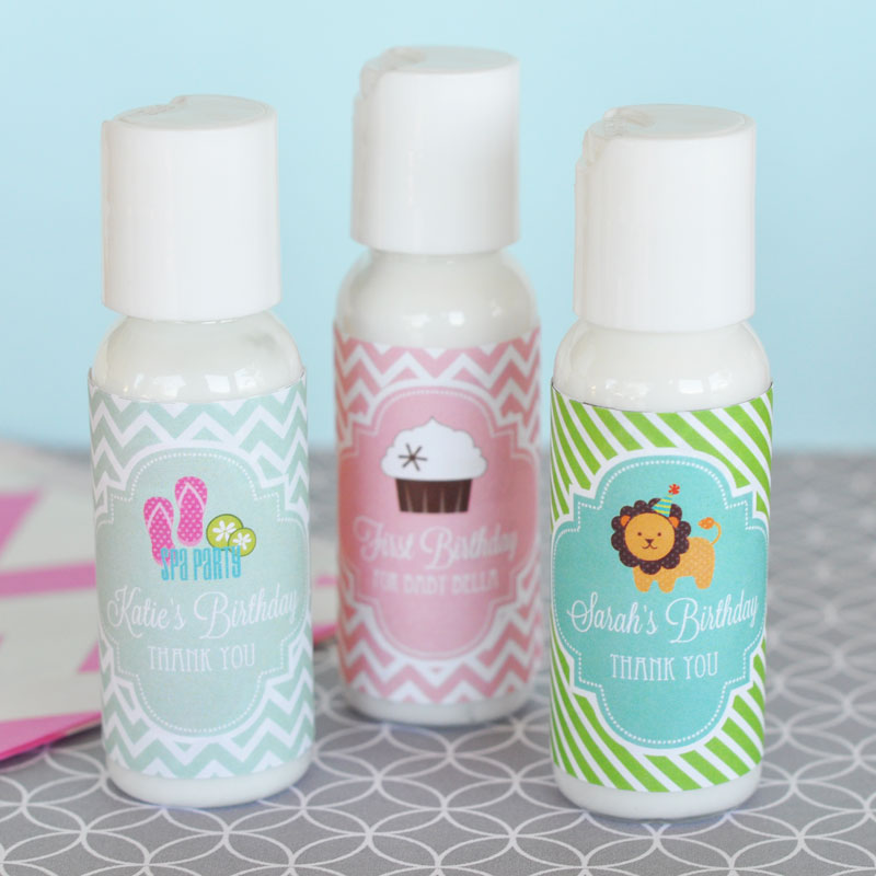 Personalized MOD Kid's Birthday Lotion wedding favors