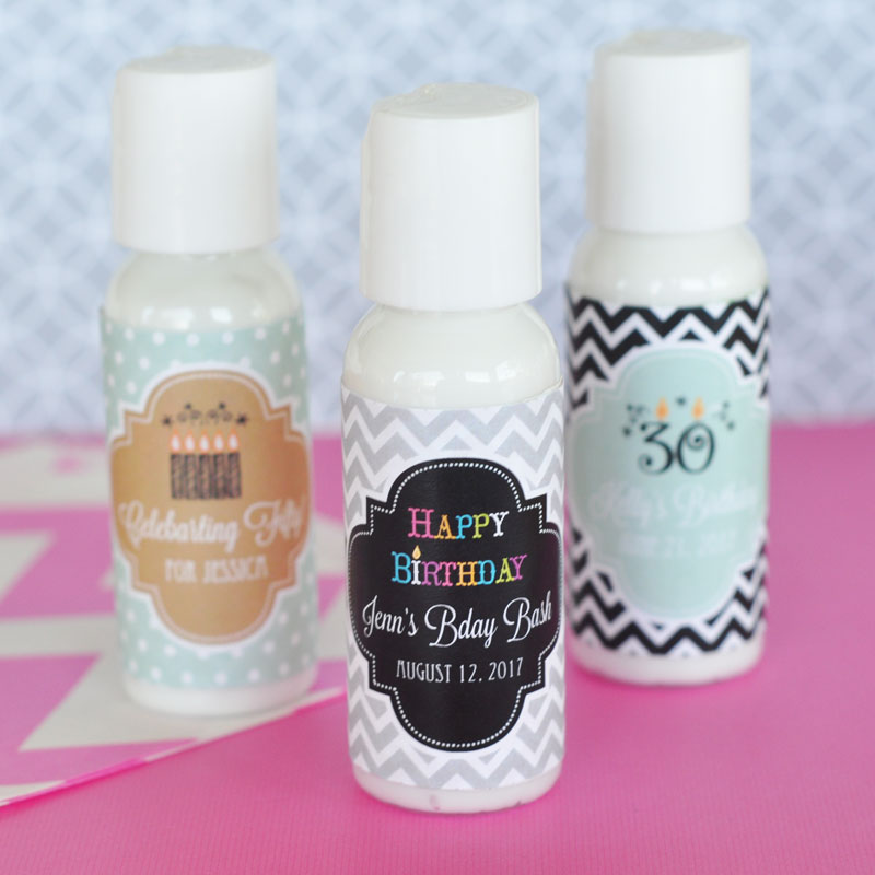 Personalized Birthday Lotion cheap favors