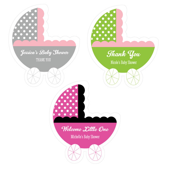 Personalized Baby Carriage Labels cheap favors