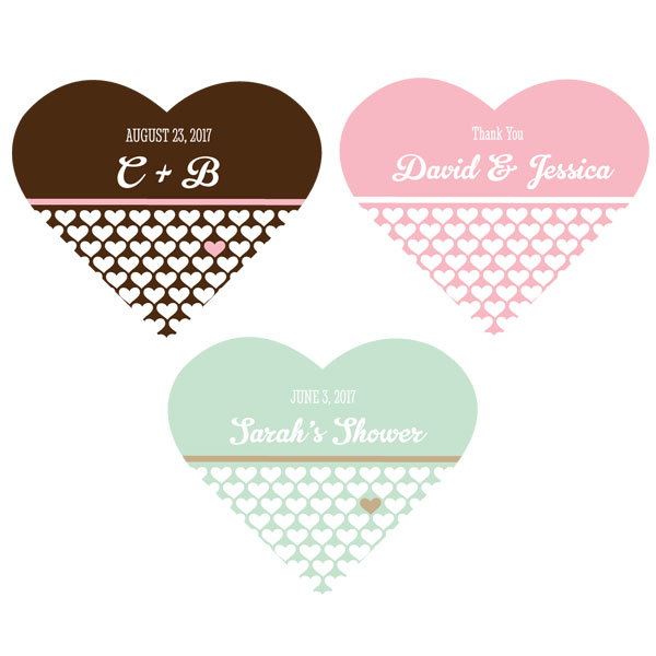 Personalized Heart Shape Labels cheap favors