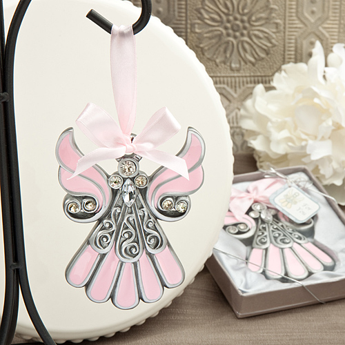 Shimmering Pink And Pewter Color Angel Ornaments Wedding Favors
