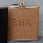 Personalized Tan Hide-Stitch Flask cheap favors