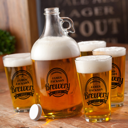 Printed Growler with four printed pub glasses wedding favors