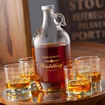 Printed Distillery Set (growler & 4 printed whiskey glasses) cheap favors