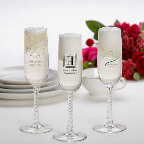 Printed Champagne Flutes wedding favors