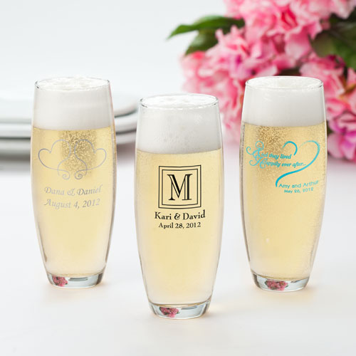 Personalized Stemless Champagne Flutes cheap favors