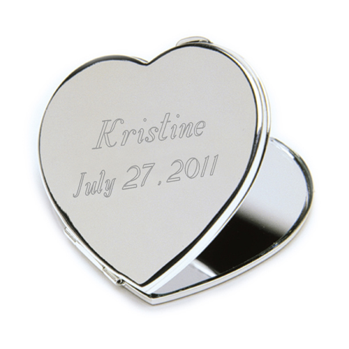 Personalized Heart Mirror Compact wedding favors