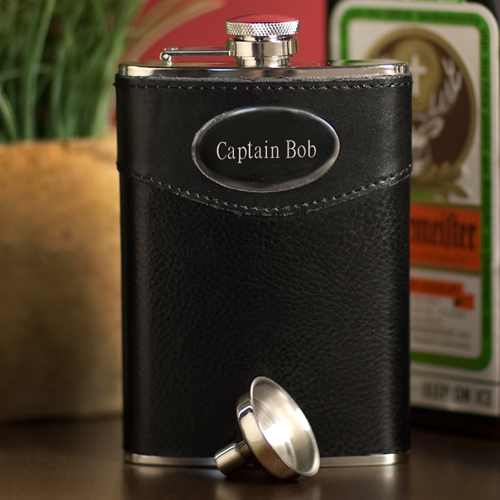 Personalized 8 oz. Leather Flask wedding favors