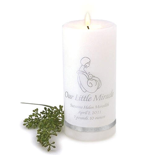 Our Little Miracle Candle wedding favors
