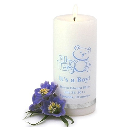Personalized It's A Boy Candle wedding favors