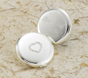 Personalized Sweetheart Silver Plated Compact cheap favors