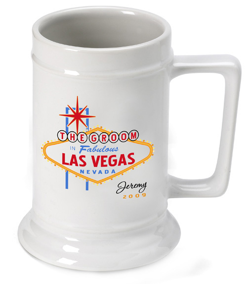 Personalized Vegas Wedding Party Beer Stein wedding favors