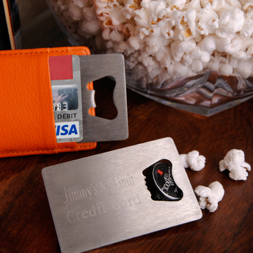 Personalized Credit Card Bottle Opener wedding favors